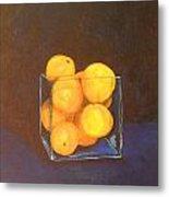 Oranges In A Square Vase Metal Print