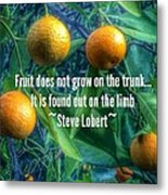 Oranges On A Limb Quote   Metal Print