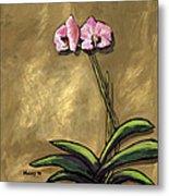 Orchid On Khaki Metal Print