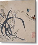 Orchids And Butterflys Metal Print