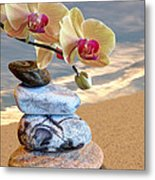 Orchids And Pebbles On Sand Metal Print