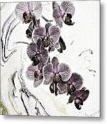 Orchids And Suminagashi Metal Print