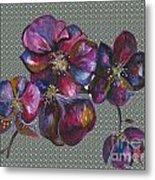Orchids Grey Bubble Metal Print