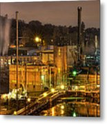 Oregon City Electricity Power Plant At Night Metal Print