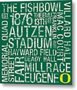 Oregon College Colors Subway Art Metal Print by Replay Photos