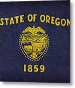 Oregon State Flag Art On Worn Canvas Metal Print