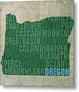 Oregon Word Art State Map On Canvas Metal Print