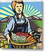 Organic Farmer Farm Produce Harvest Retro Metal Print by Aloysius Patrimonio