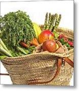 Organic Fruit And Vegetables In Shopping Bag Metal Print