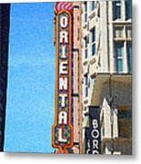 Oriental Theater With Sponge Painting Effect Metal Print