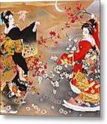 Oriental Triptych Metal Print