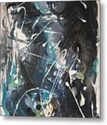 original abstract blue and black painting for sale-Blue Valley Metal Print