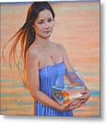 Original Classic Oil Painting Girl Art- Chinese Beautiful Girl And Goldfish Metal Print