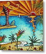Original Coastal Surfing Whimsical Fun Painting Tropical Serenity By Madart Metal Print