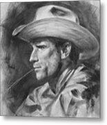 Original Drawing Sketch Charcoal Chalk  Gay Man Portrait Of Cowboy Art Pencil On Paper By Hongtao  Metal Print