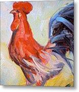 Original Animal Oil Painting - Big Cock#16-2-5-29 Metal Print