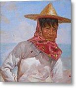 Original Oil Painting - Chinese Woman#16-2-5-26 Metal Print