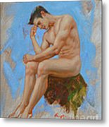 Original Oil Painting Man Body Art - Male Nude -037 Metal Print