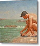 Original Oil Painting Man Body Art Male Nude By The Sea#16-2-5-42 Metal Print