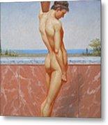 Original Oil Painting Man Body Art Male Nude On Canvas#16-2-5-13 Metal Print