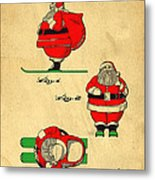 Original Patent For Santa On Skis Figure Metal Print