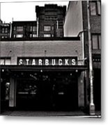 Original Starbucks Black And White Metal Print