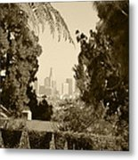 Original Vintage Urban Landscape Deco Reproduction Downtown Los Angeles Trees Retro Unique Fine Art Metal Print