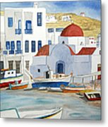 Watercolor - Mykonos Greece Detail Metal Print