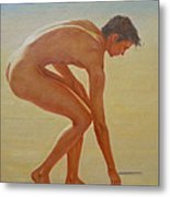 Original  Young Man Body Oil Painting  Gay Art - Male Nude By The Sea-055 Metal Print