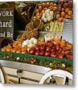 Work Hard And Be - Country Onion Cart Metal Print
