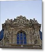 Ornate Architectural Artwork On The Musee Du Louvre Buildings In Paris France  Metal Print