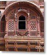 Ornate Balcony At Meherangarh Fort At Jodhpur In India Metal Print