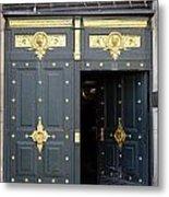 Ornate Door On Champs Elysees In Paris France Metal Print
