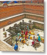 Ornate Fountains With Holy Water From The Bagmati River In Patan Durbar Square In Lalitpur-nepal   Metal Print