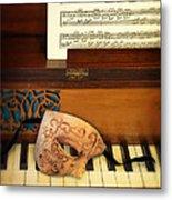 Ornate Mask On Piano Keys Metal Print