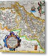 Ortelius Map Of Portugal Porvgalliae Geographicus Portugalliae Ortelius 1587 Metal Print