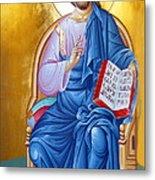 Orthodox Icon Of Jesus In Blue Metal Print