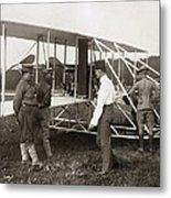 Orville Wright And Aeroplane  1908 Metal Print