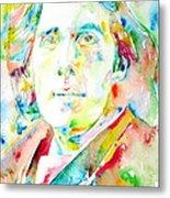 Oscar Wilde Watercolor Portrait.1 Metal Print