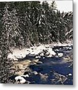 Ouareau River And Snow Covered Metal Print