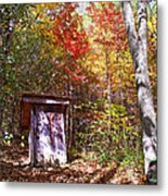 Out House In The Fall Metal Print