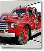 Out Of The Photo Fire Truck Metal Print
