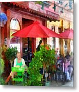 Outdoor Cafe With Red Umbrellas Metal Print