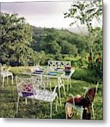 Outdoor Furniture By Lloyd On Grassy Hillside Metal Print