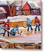 Outdoor Rink Hockey Game In The Village Hockey Art Canadian Landscape Scenes Carole Spandau Metal Print