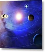 Outer Solar System Planets Metal Print