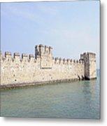 Outer Wall Scaligero Castle And Lake Garda Metal Print