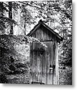 Outhouse In The Forest Black And White Metal Print