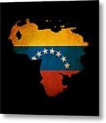 Outline Map Of Venezuela With Grunge Flag Insert Isolated On Bla Metal Print