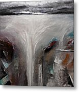 Outpour 2 Modern Waterscape Original Painting On Canvas Metal Print